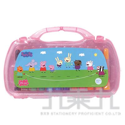 98#粉紅豬小豬24色PP盒水洗彩色筆(2) PGCP280-2