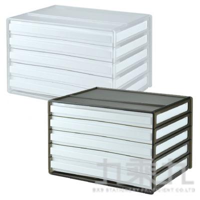 SHUTER 樹德 桌上型5抽文件櫃 DDH-105 透色/黑透