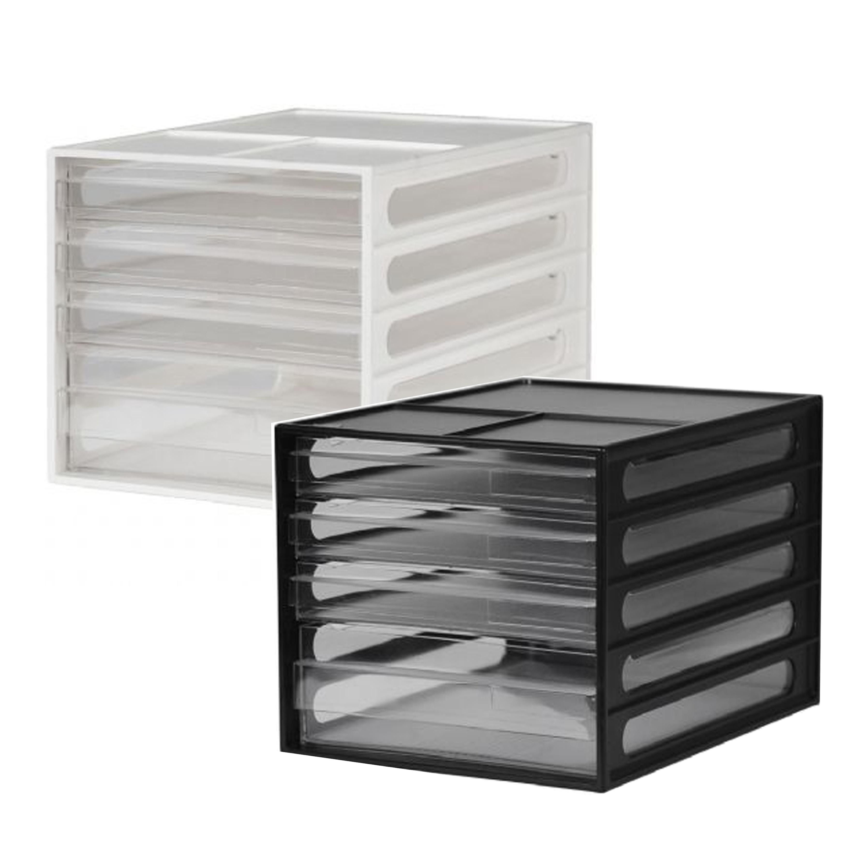 樹德桌上型資料櫃-白/黑 DD-1213