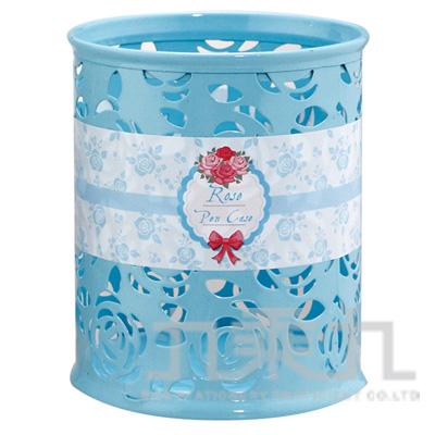 95#玫瑰雕花鐵製筆筒(圓型-藍) LW-9053B