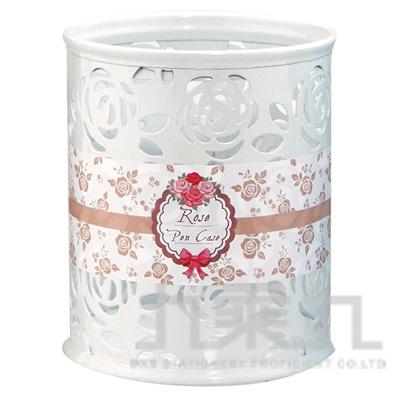 95#玫瑰雕花鐵製筆筒(圓型-白) LW-9053C