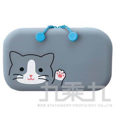 LIHIT灰貓方型拉鍊收納包A-7716-4