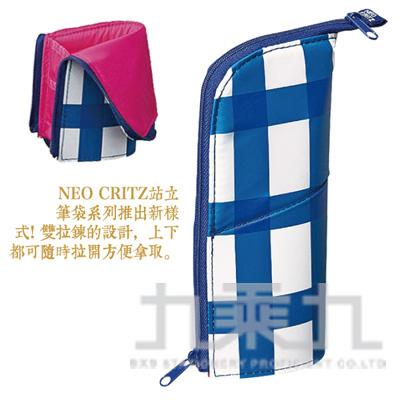 KOKUYO 站立筆袋/雙拉鍊 格子藍 KOF-VBF131-3