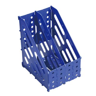 95#專利收納式兩層雜誌架(藍)260*200*310mm MA-1371