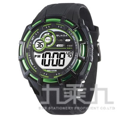 捷卡冷光電子男錶(黑綠) M997-AF