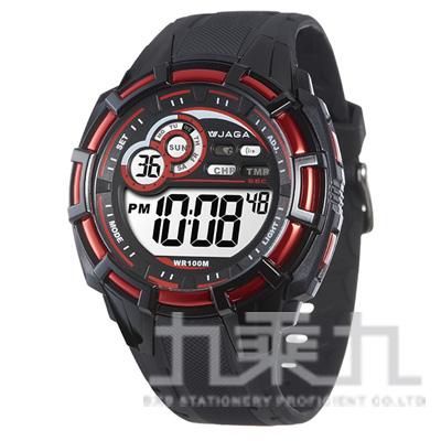 捷卡冷光電子男錶(黑紅) M997-AG