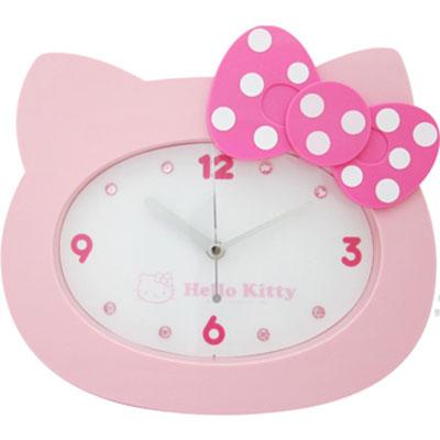 Hello Kitty臉蛋點點掃秒掛鐘-粉JM-W595KT-P