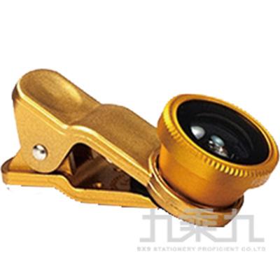 三合一通用型夾式鏡頭-金(魚眼/廣角/微距)