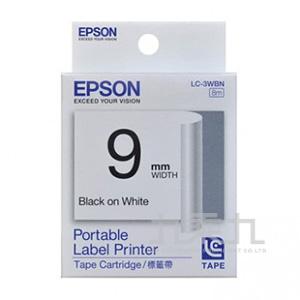 EPSON標籤帶(白底黑字)9mm  LC-3WBN