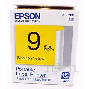EPSON標籤帶-黃底黑字 9mm LC-3YBP