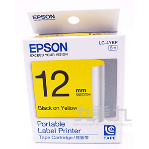 EPSON標籤帶-黃底黑字12mm LC-4YBP