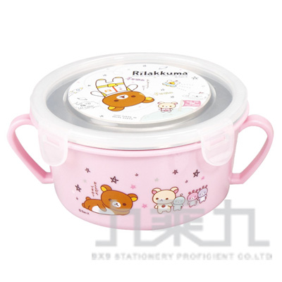 拉拉熊雙耳隔熱餐碗太空粉版 RK52052B