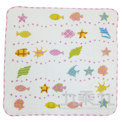 紗布貝殼小方巾 SG465K(款式多樣,隨機出貨,不挑款)