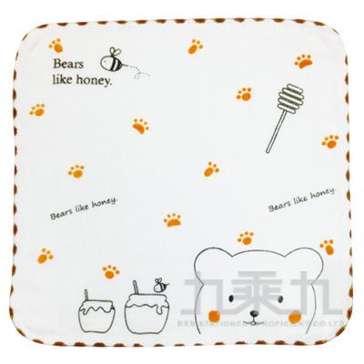 紗布蜂蜜熊小方巾 SG492K(款式多樣,隨機出貨,不挑款)