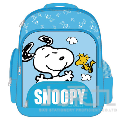 SNOOPY立體輕量護脊透氣書包-粉藍 DK-5328A