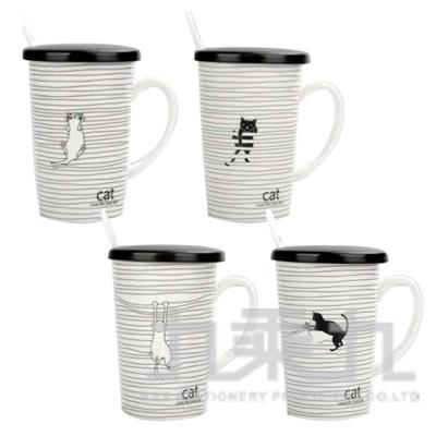 玩索貓陶瓷蓋杯 CP129-04-款式多樣隨機出貨