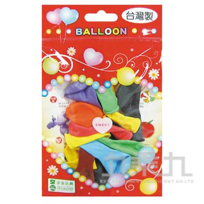 台灣製-10吋螢光圓型氣球/小包裝 BI-03037