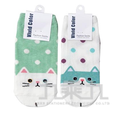 0(H)韓國貓咪水波點造型短襪 SOCK-277W