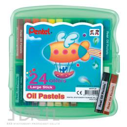 Pentel粗粉臘筆PP盒24色