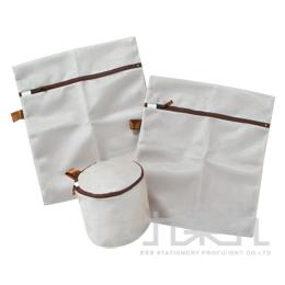 咖啡色雙層洗衣袋3入