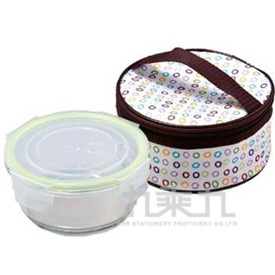 (+109)單入密扣玻璃保鮮盒(附提袋)
