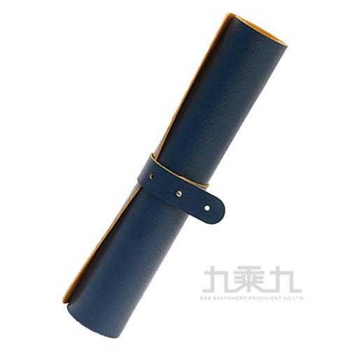 雙色皮革辦公桌墊60*30cm-藍黃