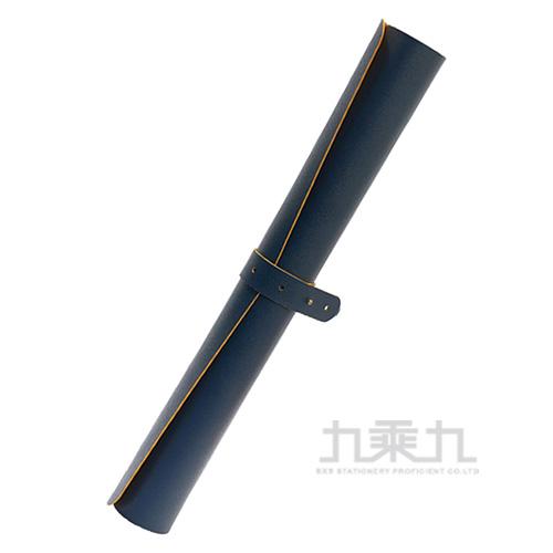 雙色皮革辦公桌墊90*45cm-藍黃