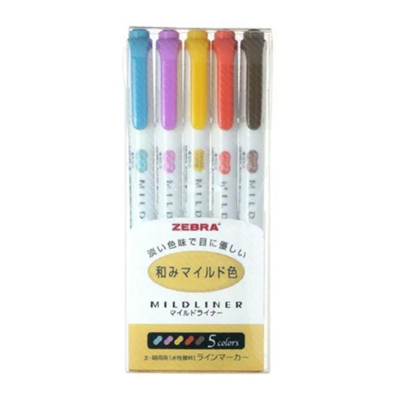 ZEBRA MILDLINER柔色螢光筆和風系5色組WKT7-5C-RC