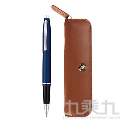 凱樂啞金屬午夜藍鋼珠筆+褐色拉鏈筆袋組