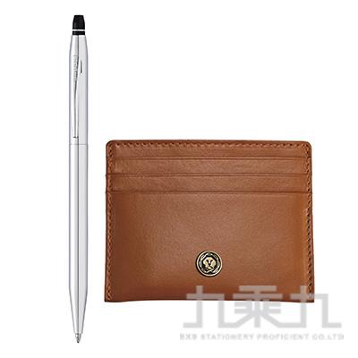 立卡亮鉻原子筆+褐色證件卡夾禮品盒