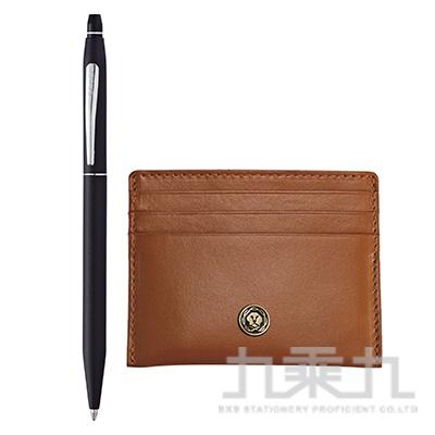 立卡經典黑原子筆+褐色證件卡夾禮品盒