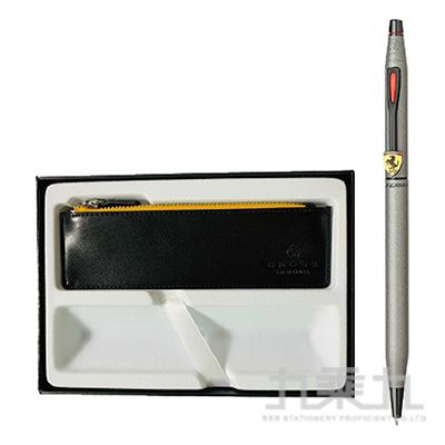 法拉利經典世紀鈦灰原子筆+拉鍊式筆袋-黑