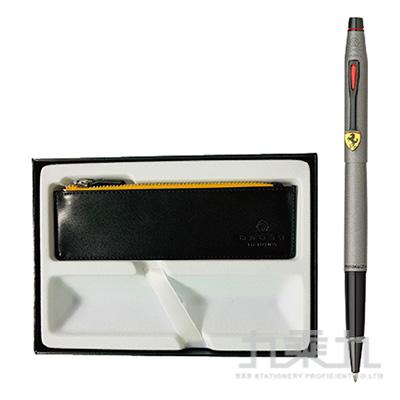 法拉利經典世紀鈦灰鋼珠筆+黑色拉鏈筆袋禮品盒套裝