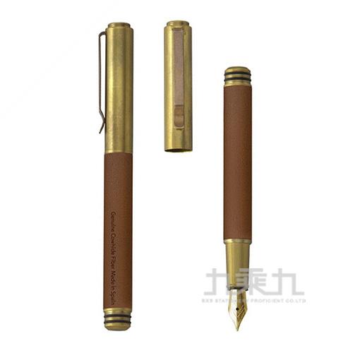 Handscript 手稿系列-復古環保黃銅版-真皮淺棕