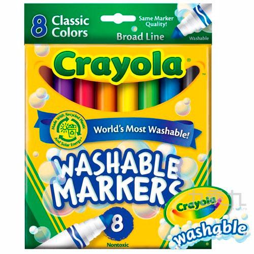 Crayola可水洗粗頭8色彩色筆經典色 587808