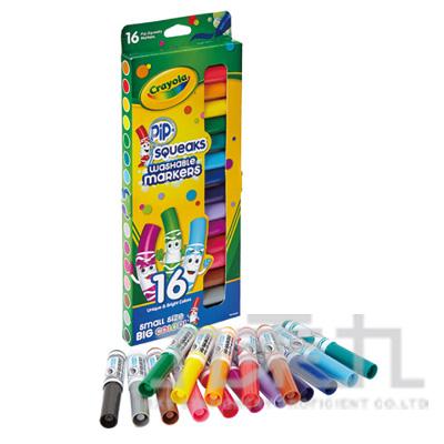 Crayola可水洗短桿粗頭彩色筆16色