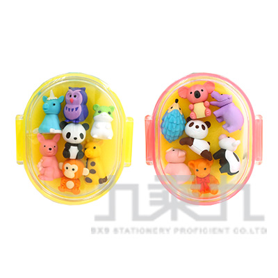 7入橡皮擦盒裝組/動物 IWAKO:ER-PUC003