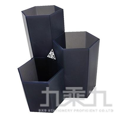 六角筆筒-霧黑 (LACE-4814)