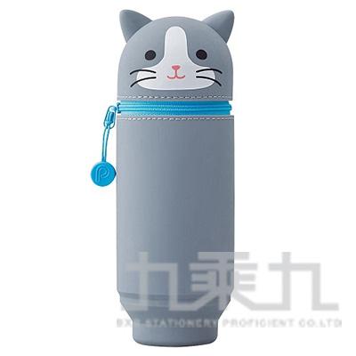 LIHIT灰貓造型伸縮筆袋(大) A-7714-4