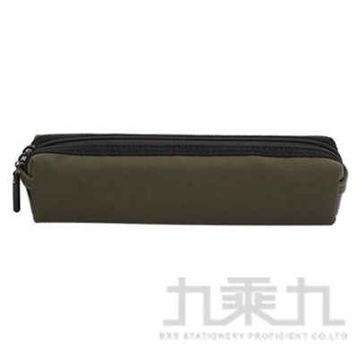 Raymay 黑色雙拉鍊棉布筆袋2/橄欖綠 R/M:FY336M