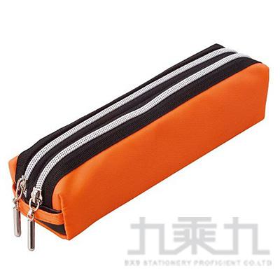 Raymay 雙拉鍊方型筆袋/橘 R/M:FY276D