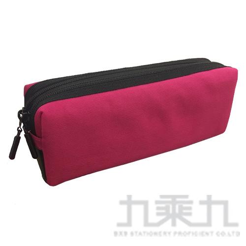 (2008+99) 雙拉鍊方型大筆袋(桃) FY341P