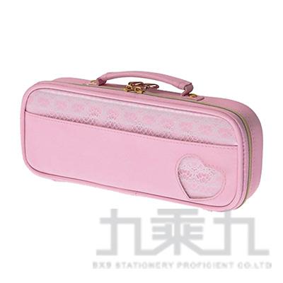 Raymay心型拉鍊蕾絲筆袋/粉紅 R/M:FSB153P