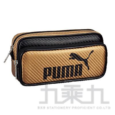 PUMA-碳纖維紋兩層大容量筆袋-金黑
