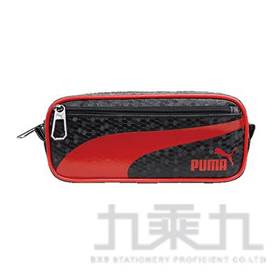 PUMA-六角蜂格紋大容量筆袋- 紅黑