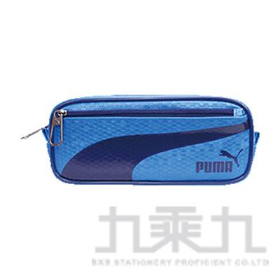 PUMA-六角蜂格紋大容量筆袋-藍與深藍