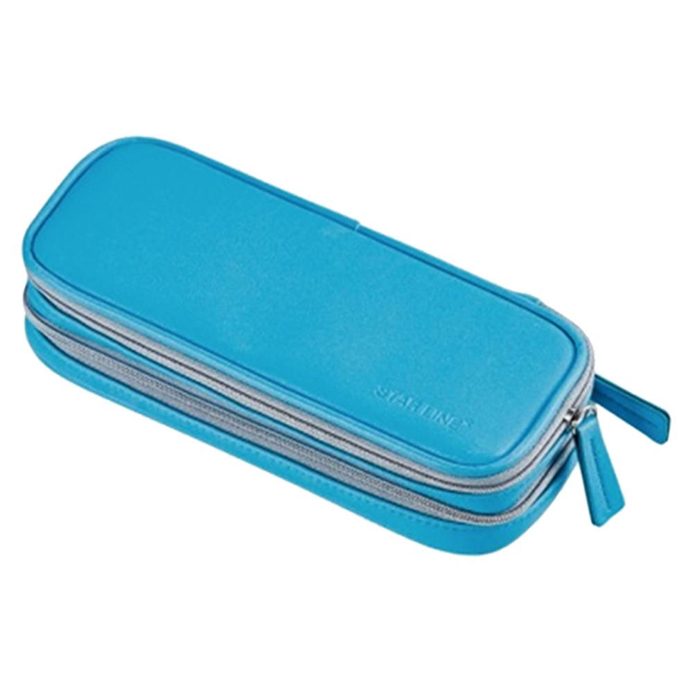 KUTSUWA-學童大容量三層筆袋-水藍