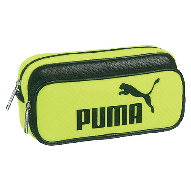 PUMA碳纖維紋兩層大容量筆袋-螢光黃底黑字