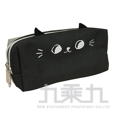 O-cat可愛貓耳雙拉鍊筆袋(黑)