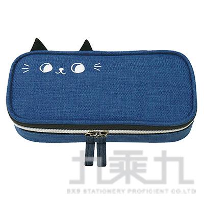 O-cat可愛貓耳上翻筆袋(藍)